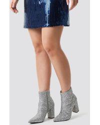 NA-KD - Glitter Heel Boots Silver - Lyst