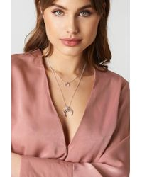 NA-KD - Double Crescent Pendant Necklace - Lyst