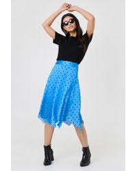 Trendyol - Dott Midi Skirt Blue - Lyst
