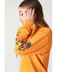 NA-KD - Rose Embroidery Sleeve Sweater Orange - Lyst