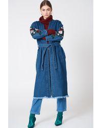 NA-KD - Embroidery Denim Coat - Lyst
