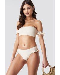 b0d205df92 NA-KD - Frilled Bikini Bottom Cream - Lyst
