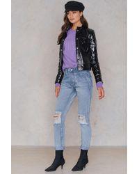 Boohoo - Open Knee Boyfriend Jeans - Lyst