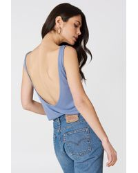 NA-KD - Ribbed Low Back Tank Top Dusty Blue - Lyst