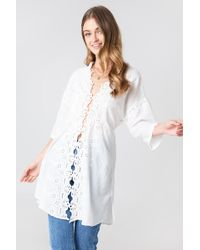 Free People - To The Moon Buttondown Shirt - Lyst