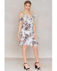 NA-KD   Cold Shoulder Flower Printed Overlap Dress   Lyst