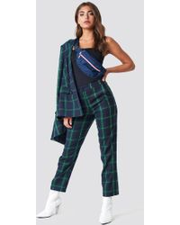 NA-KD - Straight Chequered Suit Trousers Green Check - Lyst