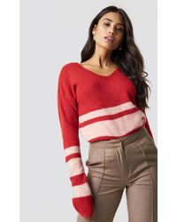 Trendyol - Arm Striped Knitted Sweater Red - Lyst