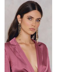 NA-KD - Hanging Colored Rhinestone Earrings Gold - Lyst