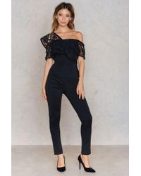 Rare London - One Shoulder Frill Top Jumpsuit - Lyst