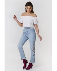 NA-KD - Embroidered Ripped Bottom Jeans - Lyst