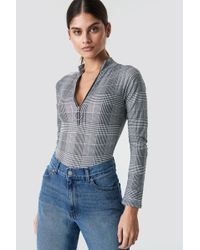 Motel Rocks - Molaka Bodysuit Grey Charles Check - Lyst