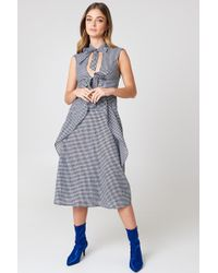NA-KD - Tied Detail Gingham Dress Gingham - Lyst