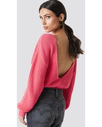 Glamorous - Deep Back Jumper Light Coral - Lyst