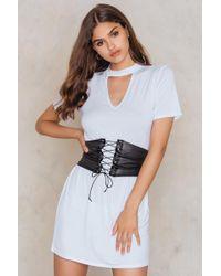 Boohoo - Choker Corset T-shirt Dress - Lyst