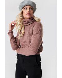 NA-KD - Folded Oversize Short Knitted Sweater Dusty Dark Pink - Lyst