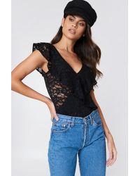 Rut&Circle - Lace Bodysuit Black - Lyst