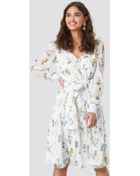 7a648f73b8a AKIRA Madly In Love Puffy Sleeves Mini Dress in White - Lyst
