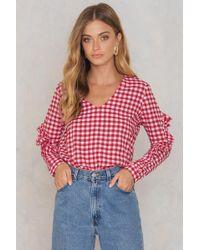 Trendyol | Gingham Frill Sleeve Blouse | Lyst