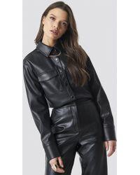 NA-KD - Pu Leather Shirt Black - Lyst