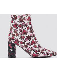 NA-KD - Printed Satin Mid Heel Boots - Lyst