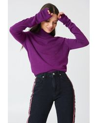 NA-KD - High Neck Light Knitted Jumper Strong Purple - Lyst