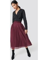NA-KD - Pleated Long Skirt Burgundy - Lyst