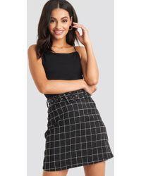 7e86c306d NA-KD - Big Check Belted Mini Skirt Black - Lyst