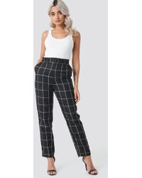 NA-KD - Tailored Plaid Suit Trousers Black - Lyst