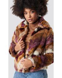 6a61e5bd1ad0 Mango Leopard Print Faux Fur Coat in Natural - Lyst