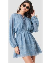 NA-KD - Lace Up Lace Dress Blue - Lyst