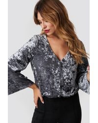 Rut&Circle - Velvet Button Bodysuit Silver - Lyst