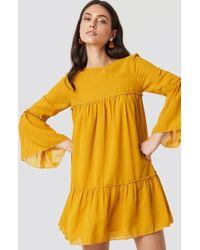 NA-KD - Flounced Mini Chiffon Dress Mustard Yellow - Lyst