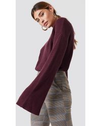 NA-KD - Cropped Long Sleeve Knitted Sweater Burgundy - Lyst