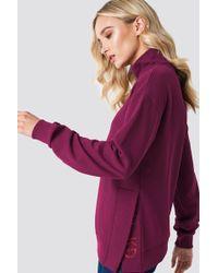 NA-KD - Slit Embroidery Sweatshirt Burgundy - Lyst
