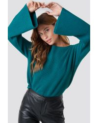 NA-KD - Cropped Long Sleeve Knitted Sweater Dark Petrol - Lyst