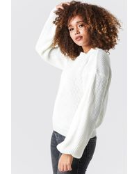 Glamorous - Balloon Arm Knitted Sweater Off White - Lyst