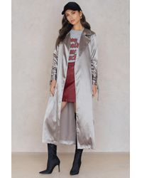 Boohoo - Ruched Sleeve Duster Charcoal - Lyst