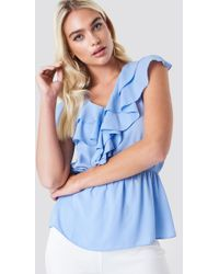 Trendyol - Ruched Waist Frill Top Blue - Lyst