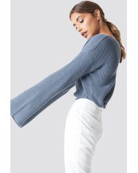 NA-KD - Cropped Long Sleeve Knitted Sweater Stone Blue - Lyst