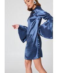 NA-KD - Metallic Gathered Sleeve Mini Dress - Lyst