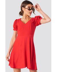 Trendyol - V Neck Mini Dress Red - Lyst