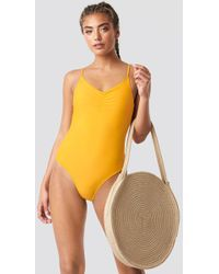 NA-KD - Basic Front Ruched Swimsuit Citrus - Lyst