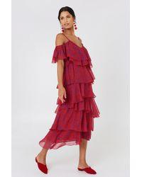 NA-KD - Cold Shoulder Flounce Midi Dress - Lyst