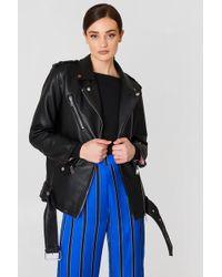 Mango - Biker Oversize Jacket Black - Lyst