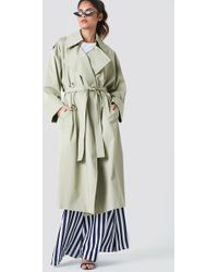 Mango - Double Breasted Trench Green - Lyst