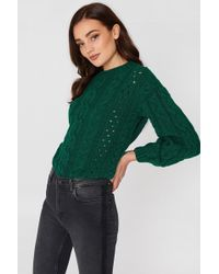 Mango - Openwork Cable-knit Jumper Green - Lyst