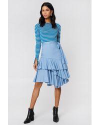 NA-KD - Triple Layer Frill Midi Skirt Light Blue - Lyst