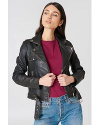 NA-KD - Worn Look Leather Jacket - Lyst
