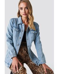 Mango - Oversize Denim Jacket Open Blue - Lyst